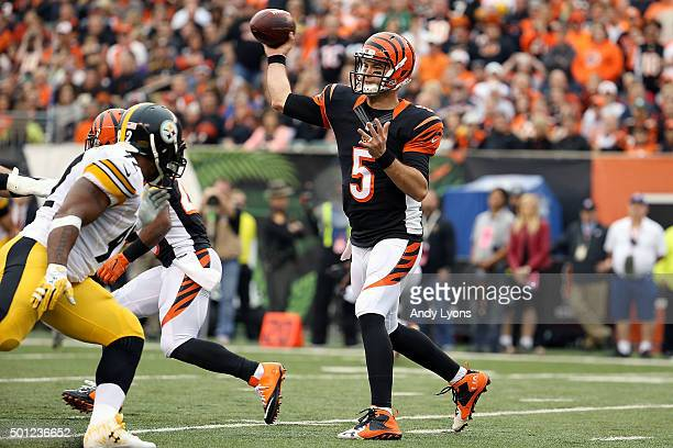 McCarron of the Cincinnati Bengals throws a pass during the second quarter of the game against the Pittsburgh Steelers at Paul Brown Stadium on...