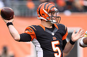 McCarron of the Cincinnati Bengals throws a pass during the third quarter of the game against the Pittsburgh Steelers at Paul Brown Stadium on...