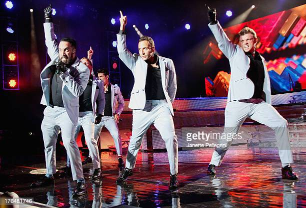 AJ McClean Brian Littrell Kevin Richardson Howie Dorough and Nick Carter of the Backsteet Boys perform at Nikon at Jones Beach Theater on August 13...