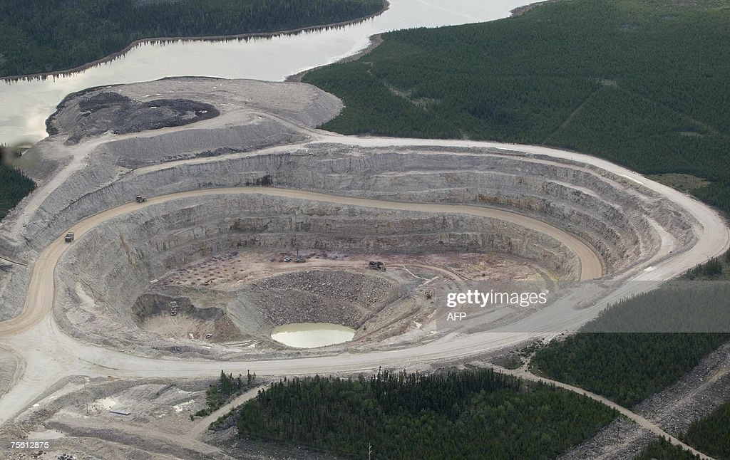 TO GO WITH AFP STORY CANADAFRANCENUCLEAR BY JACQUES LEMIEUX The Sue E open pit uranium mine is pictured in this aerial view at Areva Resources 16...