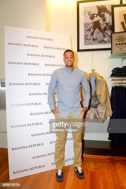 J McCollum and Banana Republic celebrate partnership and launch new Rapid Movement Chino at Banana Republic on August 24 2017 in Portland Oregon