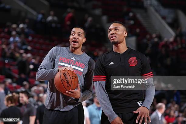 J McCollum and Damian Lillard of the Portland Trail Blazers before the game against Atlanta Hawks on January 20 2016 at Moda Center in Portland...