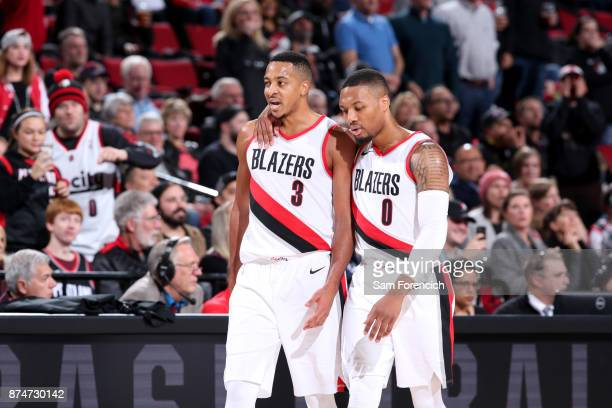 McCollum and Damian Lillard of the Portland Trail Blazers during the game against the Orlando Magic on November 15 2017 at the Moda Center in...