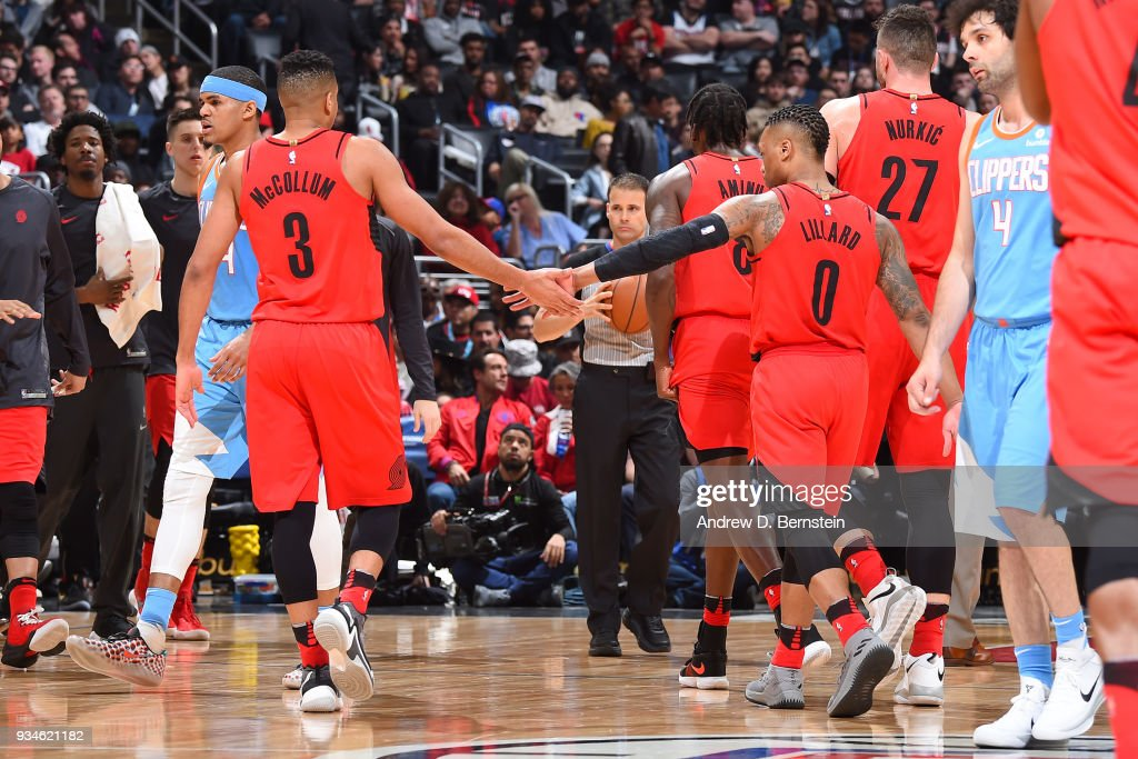 CJ McCollum #3 and Damian Lillard #0 of the Portland Trail Blazers during the game against the LA Clippers on March 18, 2018 at STAPLES Center in Los Angeles, California.