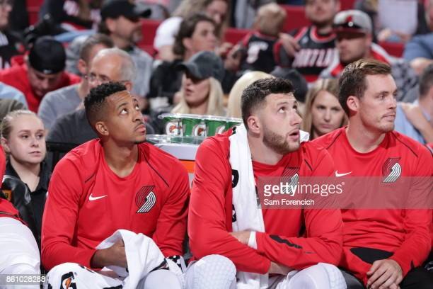 McCollum and Jusuf Nurkic of the Portland Trail Blazers look on during a pre season game against the Toronto Raptors on October 5 2017 at the Moda...