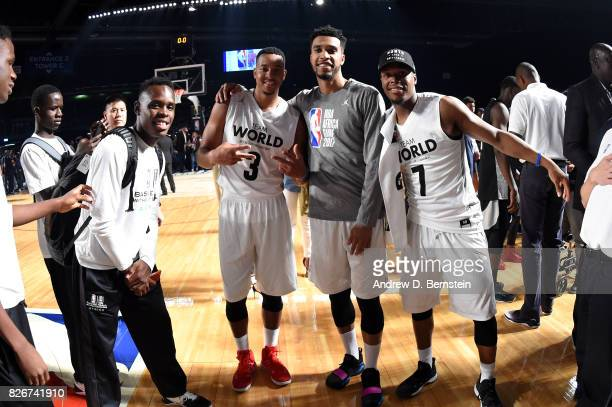 McCollum Courtney Lee and Kyle Lowry of Team World pose for a picture after the game against Team Africa in the 2017 Africa Game as part of the...