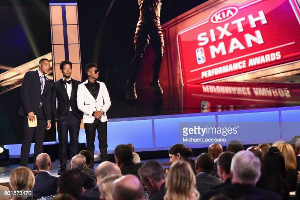 CJ McCollum Jussie Smollett and Bryshere Gray speak on stage during the 2017 NBA Awards Live On TNT on June 26 2017 in New York City 27111_001