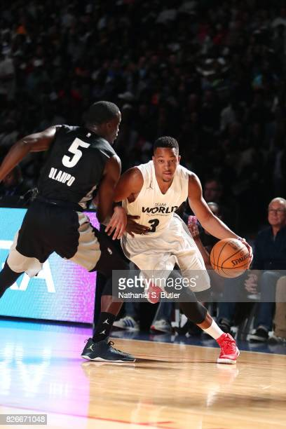 McCollum of Team World drives to the basket against Team Africa in the 2017 Africa Game as part of the Basketball Without Borders Africa at the...