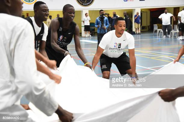 J McCollum of Team World goes through a leadership clinic during the Basketball Without Borders Africa at the American International School of...