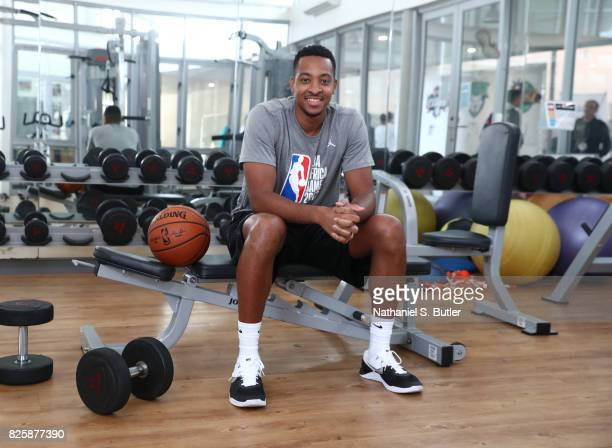 J McCollum of Team World poses for a portrait as part of the Basketball Without Boarders Africa at the American International School of Johannesburg...