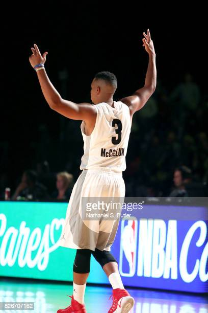 McCollum of Team World reacts during the game against Team Africa in the 2017 Africa Game as part of the Basketball Without Borders Africa at the...