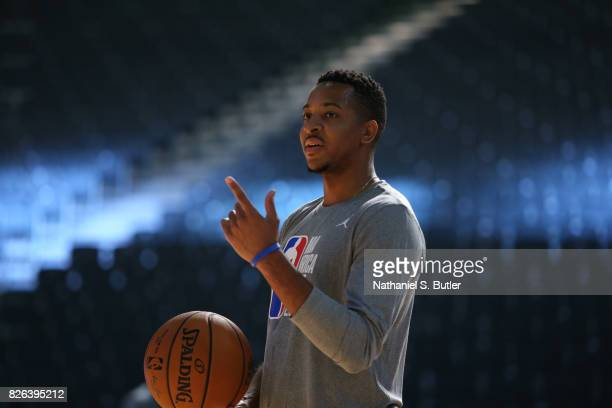 J McCollum of Team World smiles at practice for the 2017 Africa Game as part of the Basketball Without Borders Africa at the Ticketpro Dome on August...