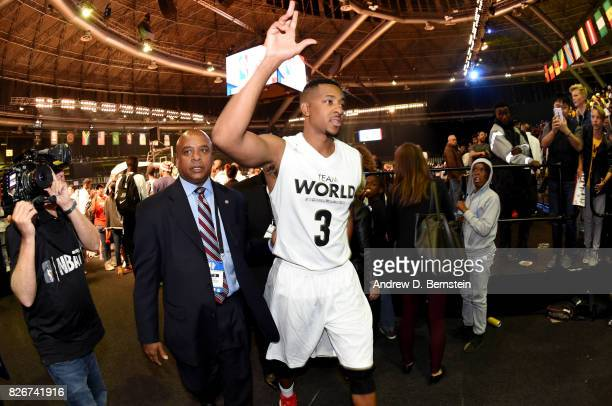 McCollum of Team World waves to fans after the game against Team Africa in the 2017 Africa Game as part of the Basketball Without Borders Africa at...