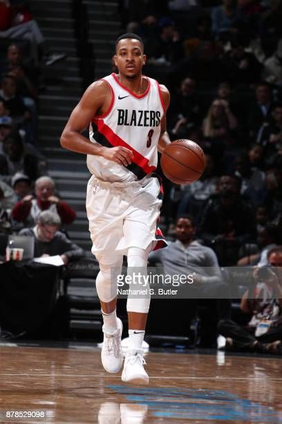 McCollum of the Portland Trail Blazers brings the ball up court against the Brooklyn Nets on November 24 2017 at Barclays Center in Brooklyn New York...