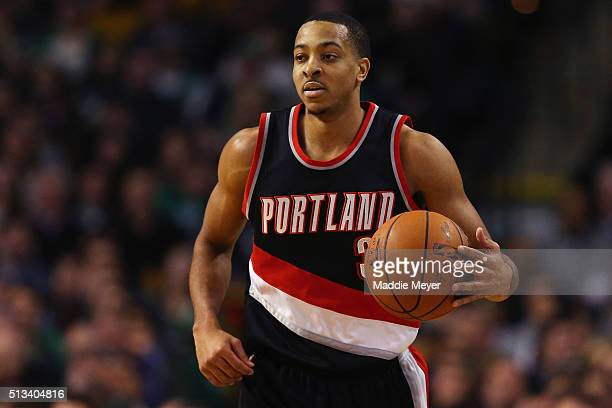 J McCollum of the Portland Trail Blazers carries the ball against the Boston Celtics during the second quarter at TD Garden on March 2 2016 in Boston...