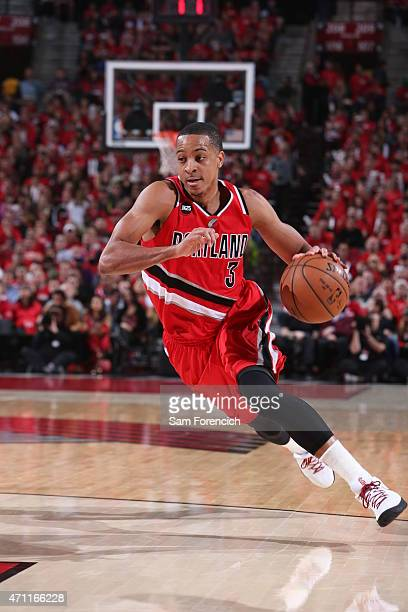 J McCollum of the Portland Trail Blazers drives to the basket against the Memphis Grizzlies in Game Three of the Western Conference Quarterfinals...