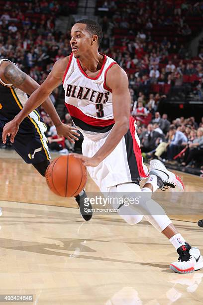 J McCollum of the Portland Trail Blazers drives to the basket against the Utah Jazz during a preseason game on October 18 2015 at the Moda Center...