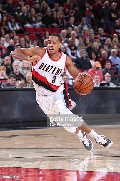 J McCollum of the Portland Trail Blazers drives to the basket against the Los Angeles Clippers on November 20 2015 at the Moda Center Arena in...