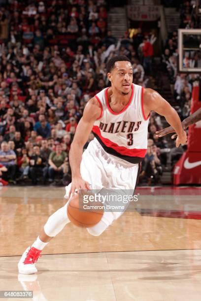 J McCollum of the Portland Trail Blazers drives to the basket against the Brooklyn Nets on March 4 2017 at the Moda Center in Portland Oregon NOTE TO...