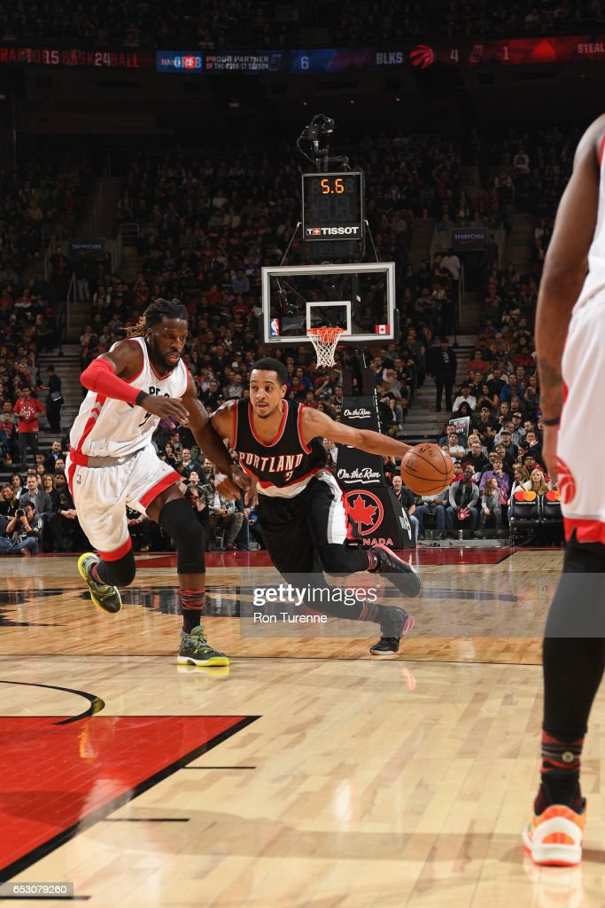 C.J. McCollum #3 of the Portland Trail Blazers drives to the basket against the Toronto Raptors on February 26, 2017 at the Air Canada Centre in Toronto, Ontario, Canada.