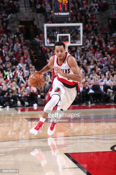 J McCollum of the Portland Trail Blazers drives to the basket against the Milwaukee Bucks on March 21 2017 at the Moda Center in Portland Oregon NOTE...