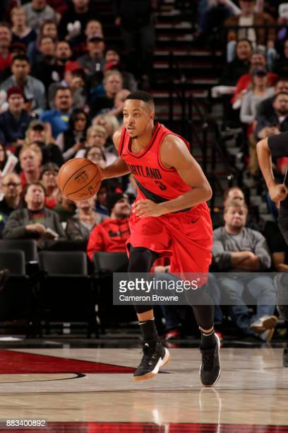 McCollum of the Portland Trail Blazers drives to the basket against the Milwaukee Bucks on November 30 2017 at the Moda Center in Portland Oregon...