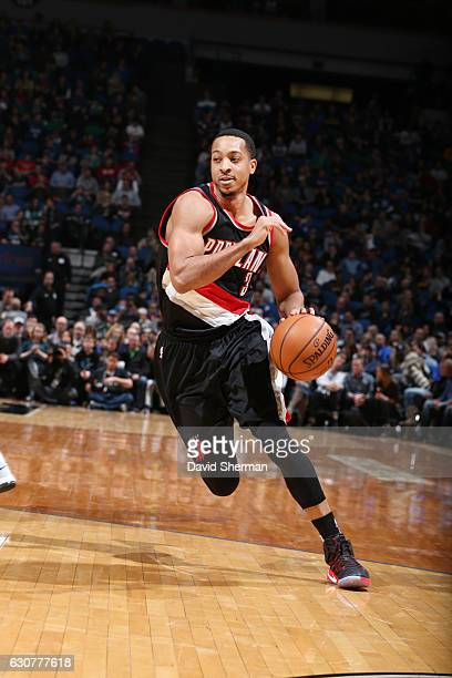 J McCollum of the Portland Trail Blazers drives to the basket during a game against the Minnesota Timberwolves on January 1 2017 at the Target Center...