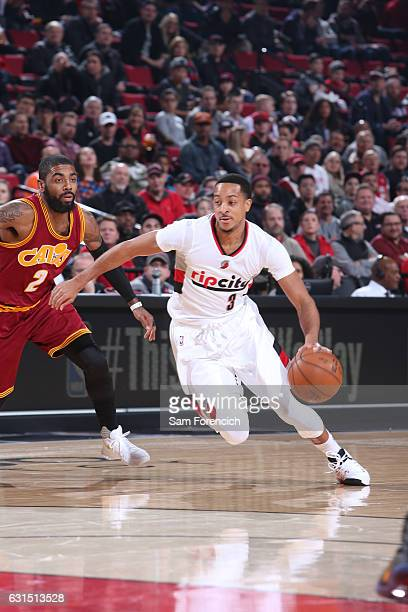 J McCollum of the Portland Trail Blazers drives to the basket during a game against the Cleveland Cavaliers on January 11 2017 at the Moda Center in...