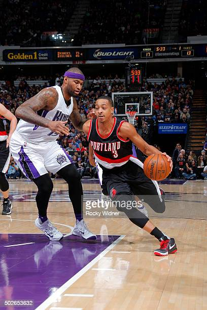 J McCollum of the Portland Trail Blazers drives to the basket during the game against the Sacramento Kings on December 27 2015 at Sleep Train Arena...