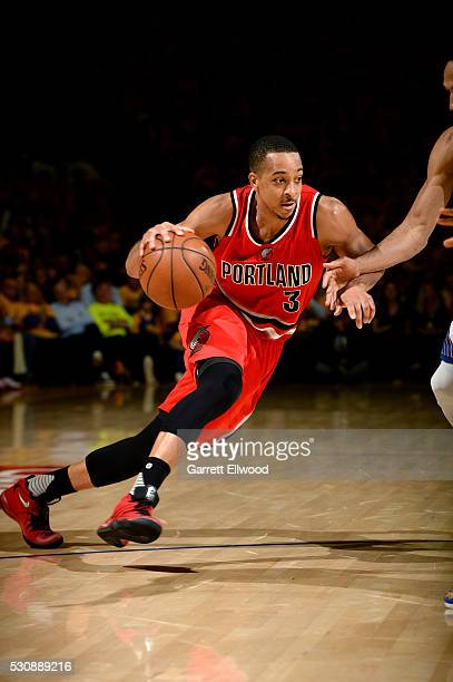 J McCollum of the Portland Trail Blazers drives to the basket during the game tate Warriors in Game Five of the Western Conference Semifinals during...