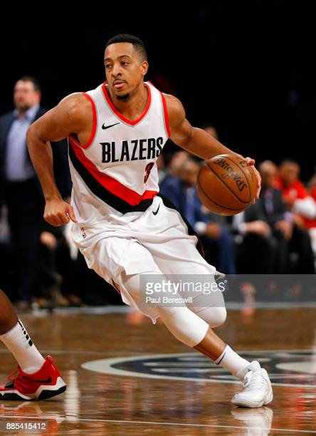 McCollum of the Portland Trail Blazers drives to the basket in an NBA basketball game against the Brooklyn Nets on November 24 2017 at Barclays...