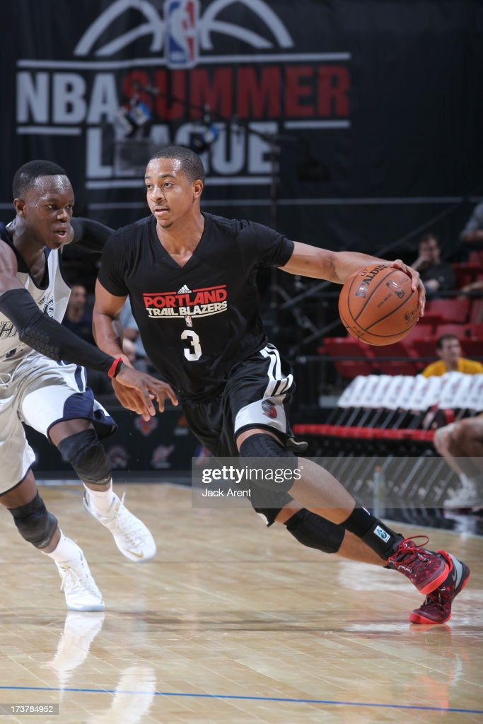 CJ McCollum #3 of the Portland Trail Blazers drives under pressure during the NBA Summer League game between the Atlanta Hawks and the Portland Trail Blazers on July 17, 2013 at the Thomas & Mack Center in Las Vegas, Nevada.