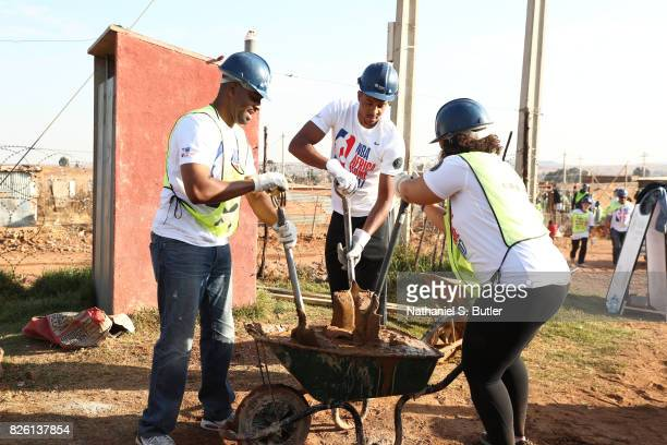 J McCollum of the Portland Trail Blazers during a NBA Cares and NBPA Foundation Service Project with Habitat for Humanity as part of the Basketball...