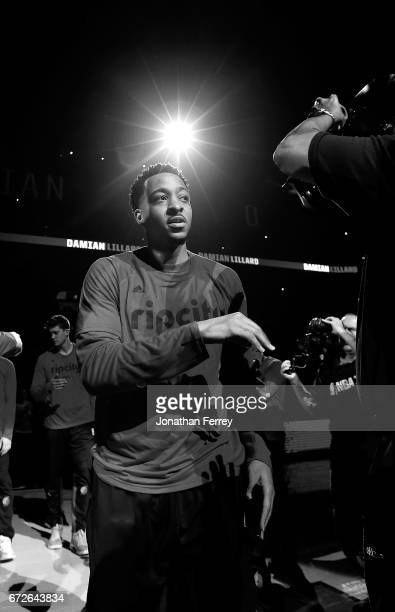 CJ McCollum of the Portland Trail Blazers during pregame introductions against the Golden State Warriors during Game Three of the Western Conference...