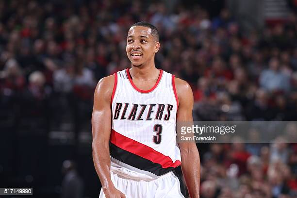 J McCollum of the Portland Trail Blazers during the game against the Dallas Mavericks on March 23 2016 at the Moda Center in Portland Oregon NOTE TO...
