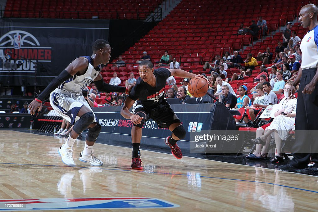 CJ McCollum #3 of the Portland Trail Blazers faces defense during the NBA Summer League game between the Atlanta Hawks and the Portland Trail Blazers on July 17, 2013 at the Thomas & Mack Center in Las Vegas, Nevada.