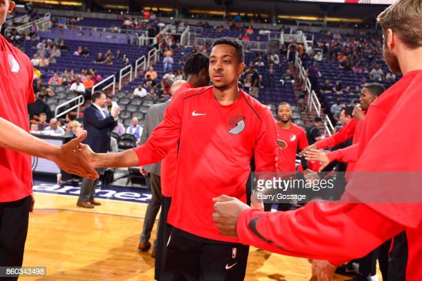McCollum of the Portland Trail Blazers gets introduced before the preseason game against the Phoenix Suns on October 11 2017 at Talking Stick Resort...