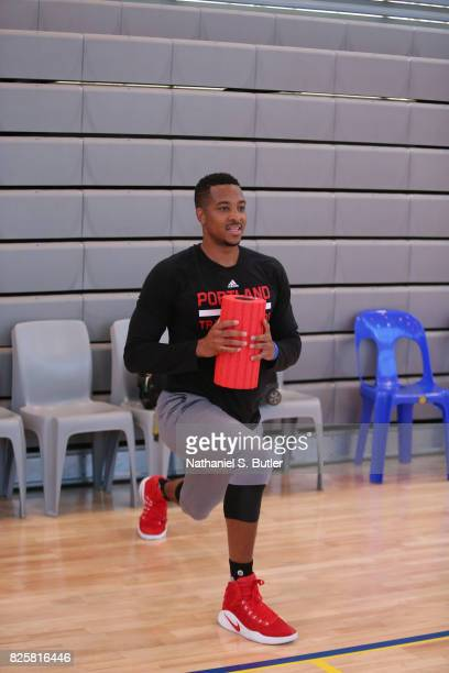 J McCollum of the Portland Trail Blazers goes through a workout as part of Basketball Without Borders Africa at the American International School of...