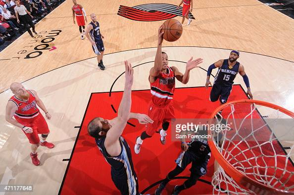 J McCollum of the Portland Trail Blazers goes to the basket against the Memphis Grizzlies in Game Three of the Western Conference Quarterfinals...