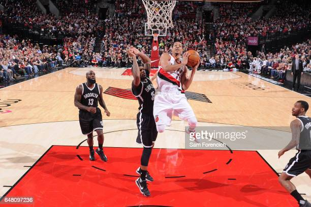 J McCollum of the Portland Trail Blazers goes to the basket against the Brooklyn Nets on March 4 2017 at the Moda Center in Portland Oregon NOTE TO...
