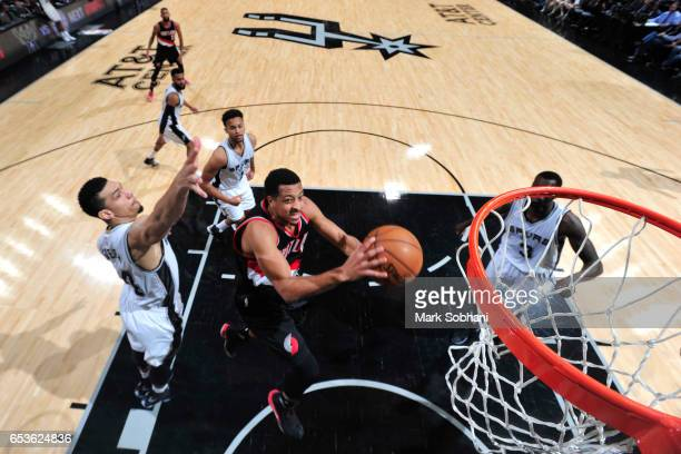 J McCollum of the Portland Trail Blazers goes to the basket against the San Antonio Spurs on March 15 2017 at the ATT Center in San Antonio Texas...