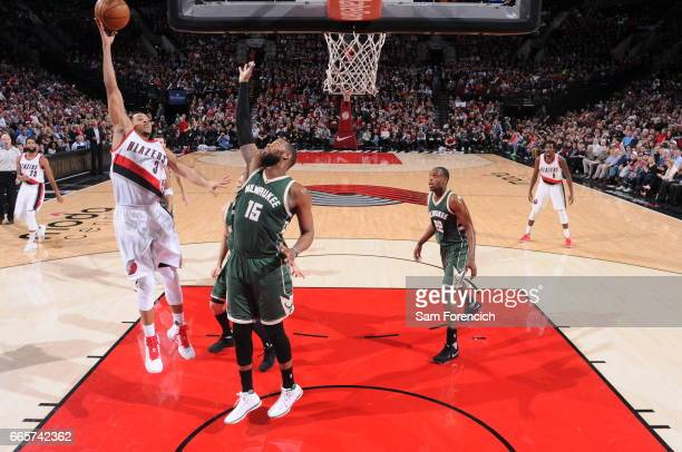J McCollum of the Portland Trail Blazers goes to the basket against the Milwaukee Bucks on March 21 2017 at the Moda Center in Portland Oregon NOTE...