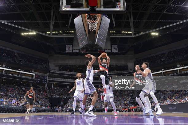 McCollum of the Portland Trail Blazers goes to the basket against the Sacramento Kings during a preseason game on October 9 2017 at ORACLE Arena in...