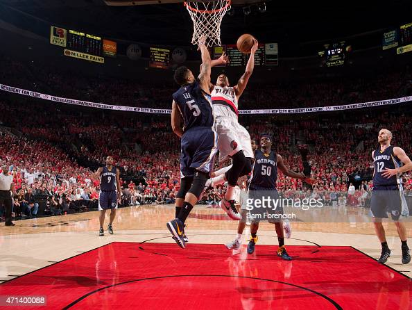 J McCollum of the Portland Trail Blazers goes up for a shot against the Memphis Grizzlies in Game Four of the Western Conference Quarterfinals during...