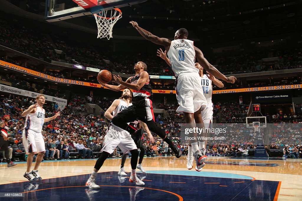 C.J. McCollum #3 of the Portland Trail Blazers goes up for a shot against the Charlotte Bobcats during the game at the Time Warner Cable Arena on March 22, 2014 in Charlotte, North Carolina.