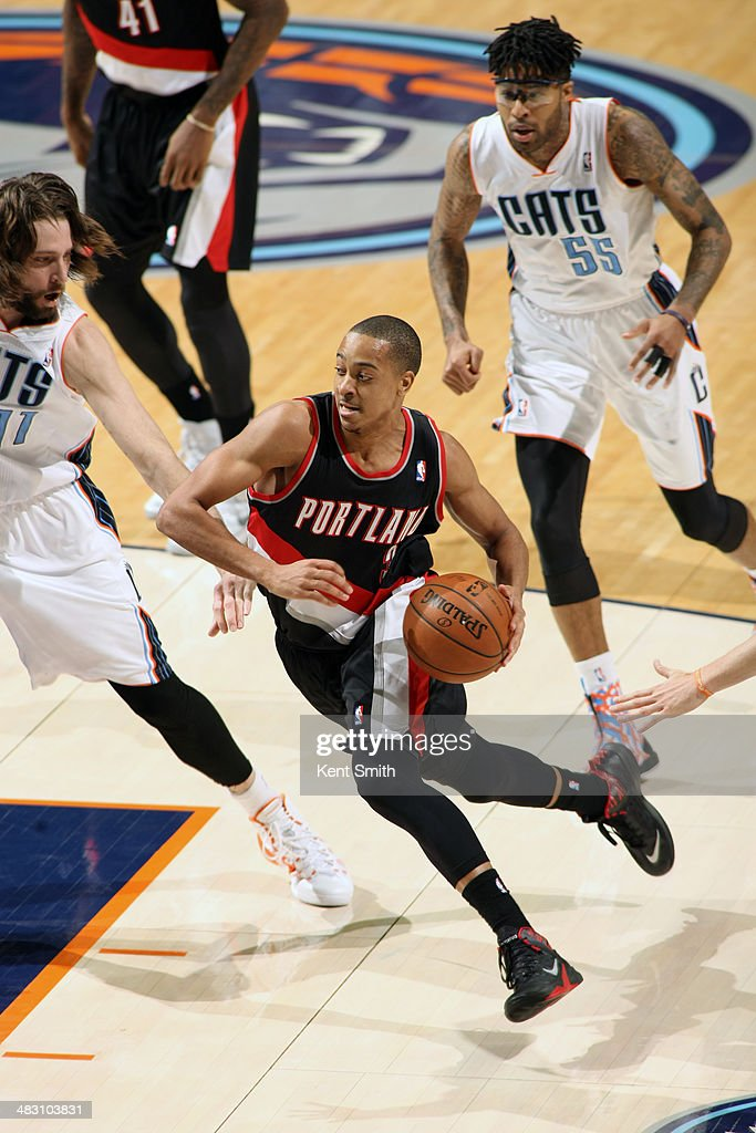 C.J. McCollum #3 of the Portland Trail Blazers handles the ball against the Charlotte Bobcats during the game at the Time Warner Cable Arena on March 22, 2014 in Charlotte, North Carolina.