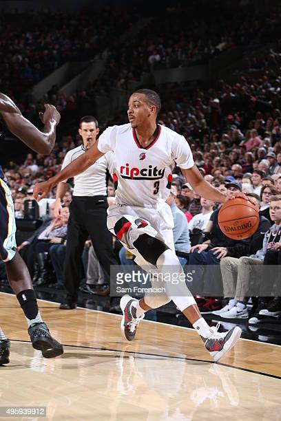 J McCollum of the Portland Trail Blazers handles the ball against the Memphis Grizzlies on November 5 2015 at the Moda Center in Portland Oregon NOTE...