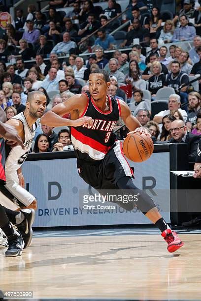 J McCollum of the Portland Trail Blazers handles the ball against the San Antonio Spurs during the game on November 16 2015 at the ATT Center in San...