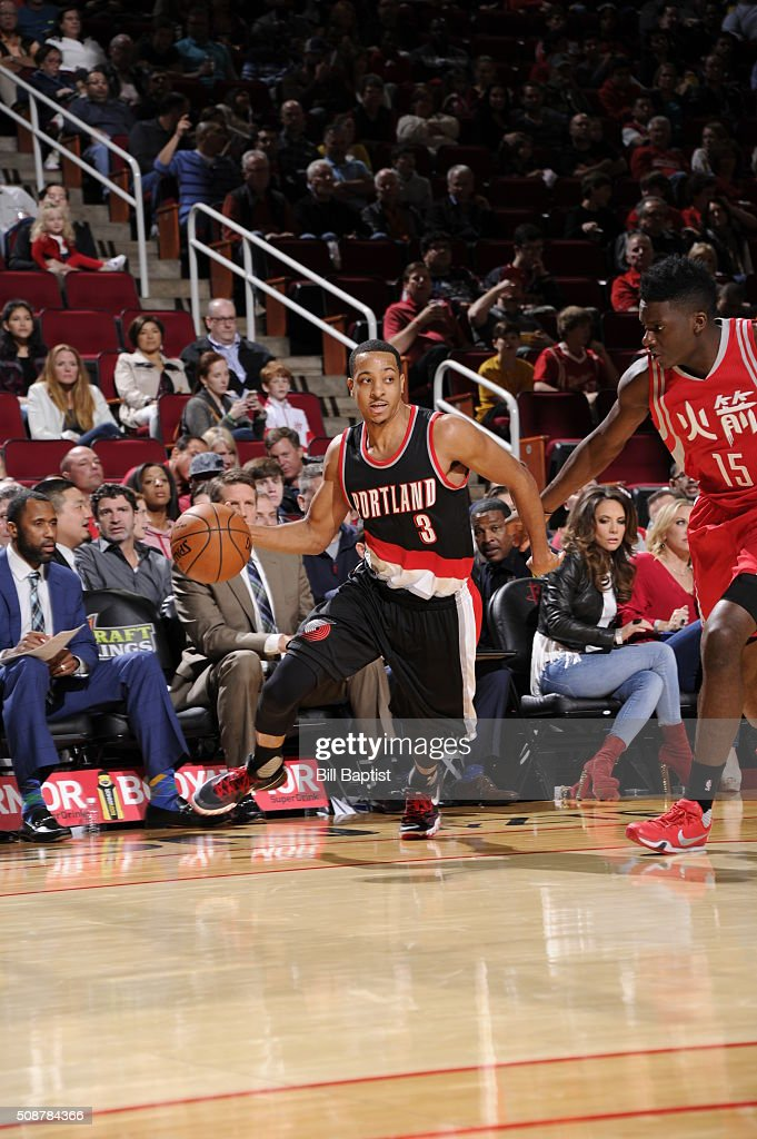 <a gi-track='captionPersonalityLinkClicked' href=/galleries/search?phrase=C.J.+McCollum&family=editorial&specificpeople=7688223 ng-click='$event.stopPropagation()'>C.J. McCollum</a> #3 of the Portland Trail Blazers handles the ball against the Houston Rockets on February 6, 2016 at the Toyota Center in Houston, Texas.