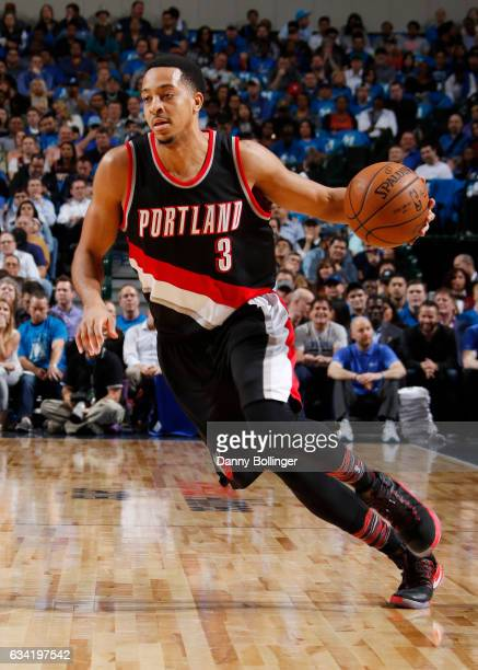 J McCollum of the Portland Trail Blazers handles the ball against the Dallas Mavericks on February 7 2017 at the American Airlines Center in Dallas...